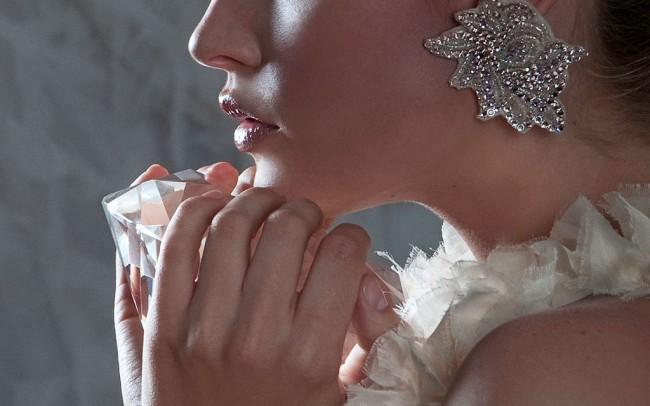 High fashion campaign featuring Kristall Mantwa designs set in vintage seamtress scene
