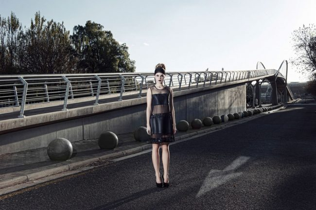 High fashion campaign on bridge in muted tones featuring Kristall Mantwa designs