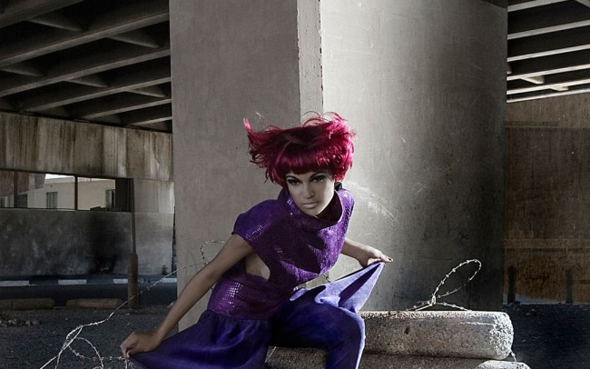 Avant Garde fashion campaign of super hero model shot under highway in Woodstock, Cape Town, for fashion designer Sharny Van Ryneveld