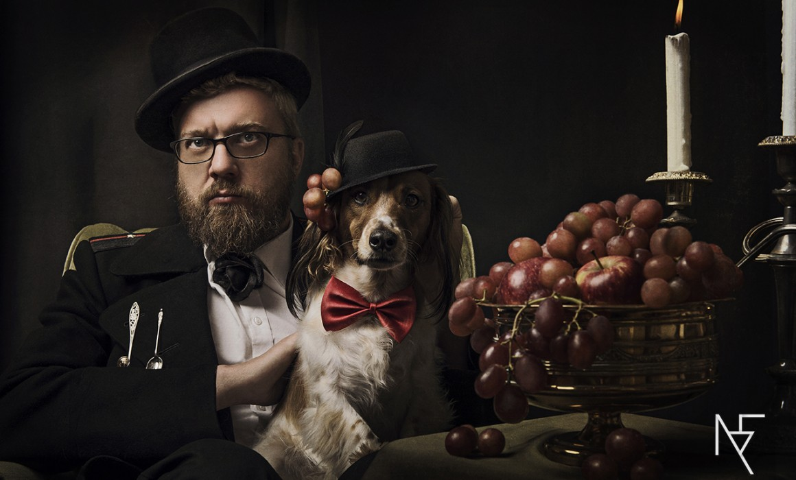 Baroque styled family shoot with couple and dogs by Natalie Field Photography.