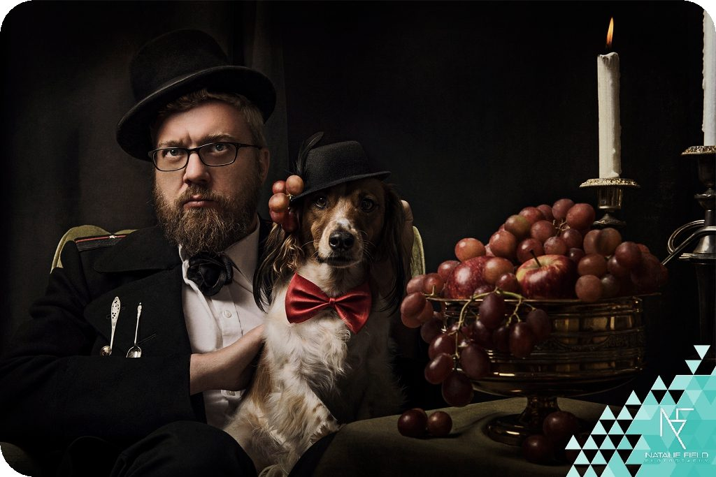 conceptual portraiture of Van Schoor family with pet portraiture styled in Baroque setting by Natalie Field Photography