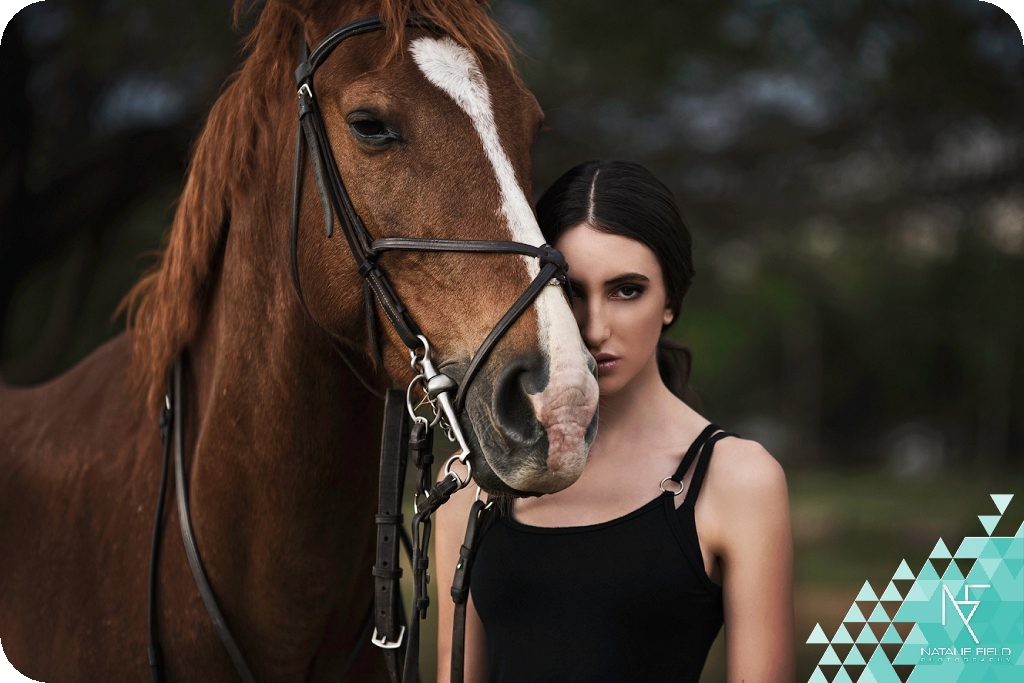 High fashion equestrian look with model Georgia K at GAPA with horse, hair and make-up by Amy Olden, Capture by Natalie Field Photography