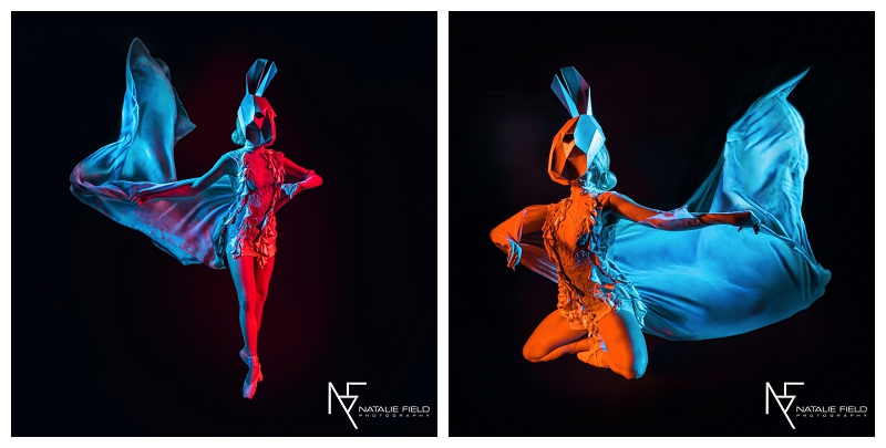 "Conceptual fashion portraiture entitled ""Animal Within"" by Natalie Field Photography shows in-camera techniques like multiple exposure and long exposure featuring Wintercroft rabbit mask"
