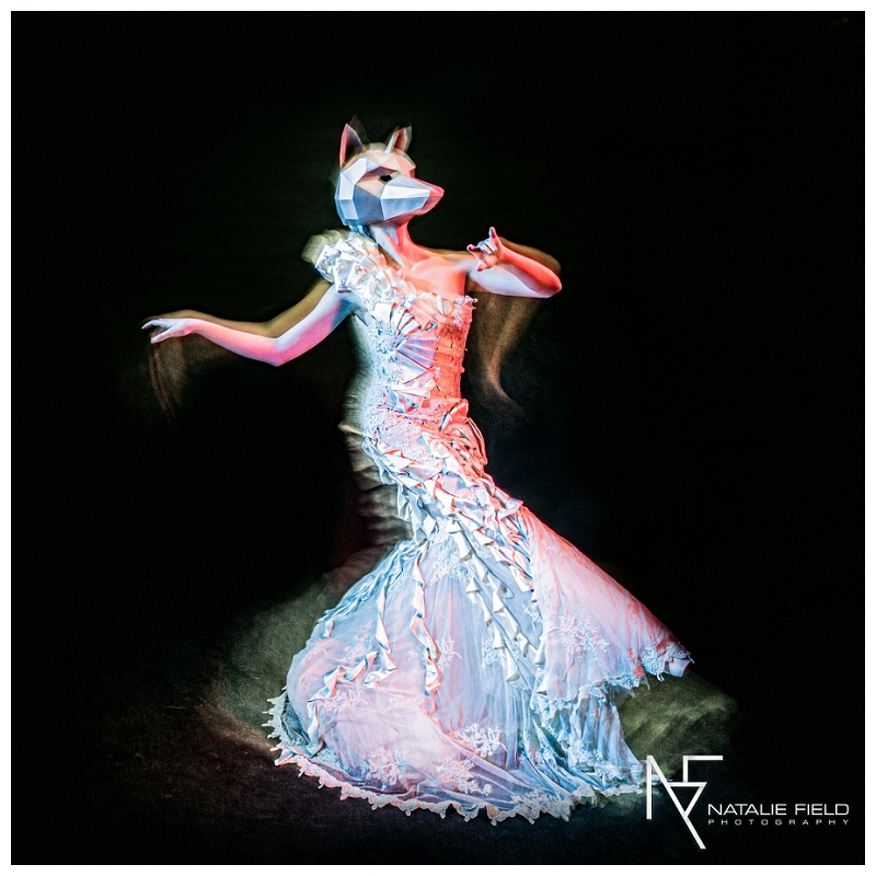"Conceptual fashion portraiture entitled ""Animal Within"" by Natalie Field Photography shows in-camera techniques like multiple exposure and long exposure featuring Wintercroft deer mask"