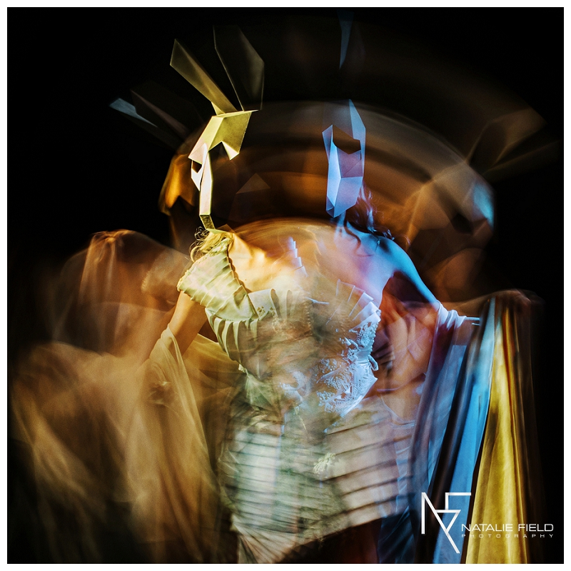 "Conceptual fashion portraiture entitled ""Animal Within"" by Natalie Field Photography shows in-camera techniques like multiple exposure and long exposure featuring Wintercroft hare mask"
