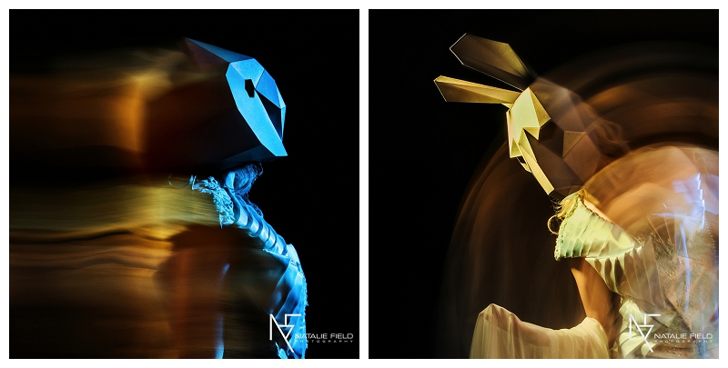 "Conceptual fashion portraiture entitled ""Animal Within"" by Natalie Field Photography shows in-camera techniques like multiple exposure and long exposure featuring Wintercroft owl and hare mask"