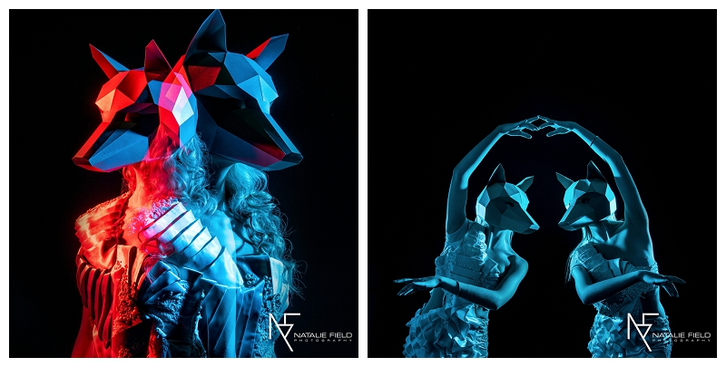 "Conceptual fashion portraiture entitled ""Animal Within"" by Natalie Field Photography shows in-camera techniques like multiple exposure and long exposure featuring Wintercroft fox mask"