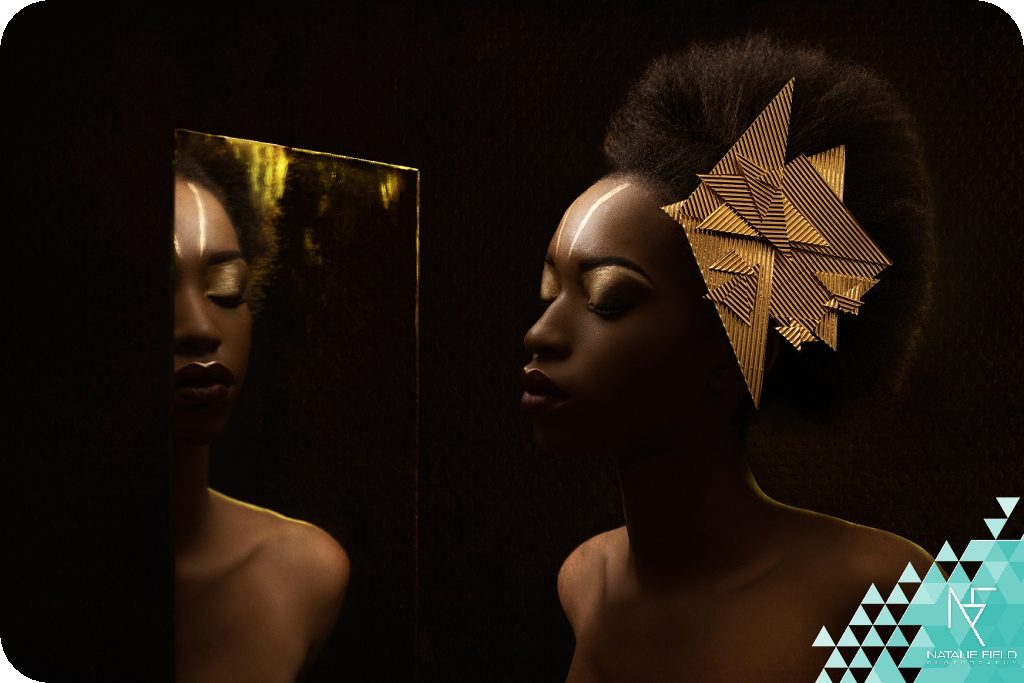 Warrior for Change fashion editorial inspired by Nelson Mandela struggle for freedom illustrated with metallic geometric elements in tones of gold for Collaboration: Mastered. Photography and Retouching Natalie Field