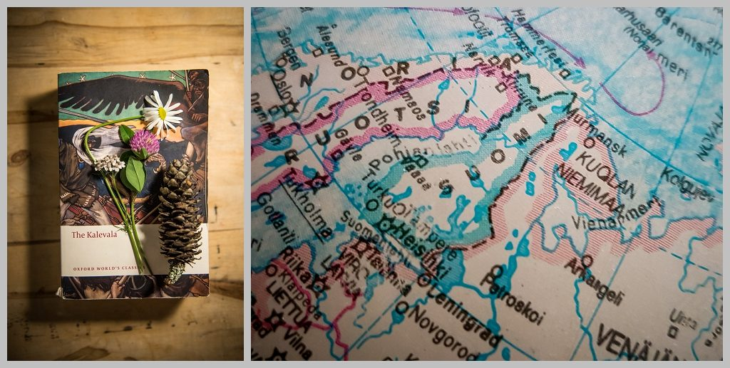 Kalevala and flowers alongside map of Suomi Finland created at Arteles artist residency by Natalie Field