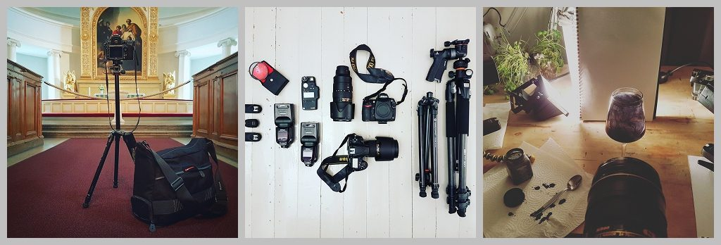 Photography gear for travels Nikon, Vanguard, Arteles artist residency Finland by Natalie Field.
