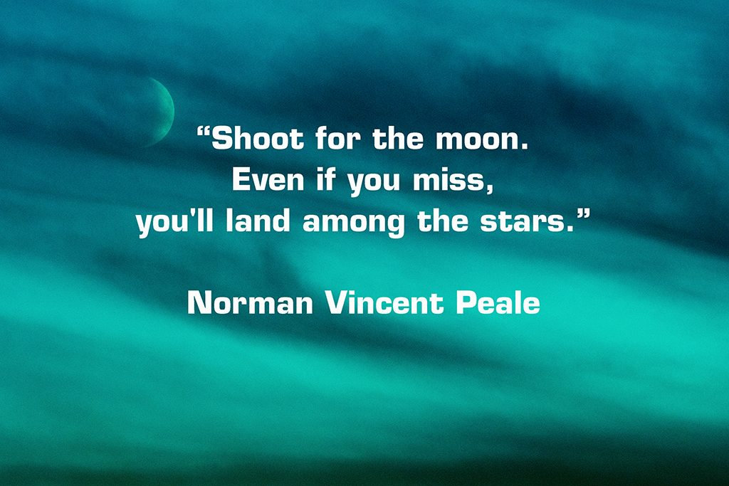 goal setting quote by norman paele illustrated with image of moon in sky by johannesburg photographer natalie field