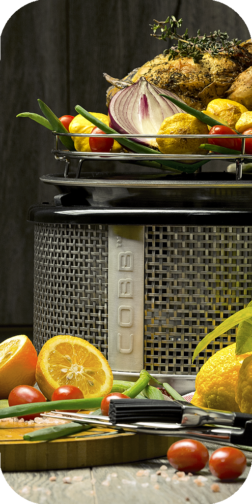 product photography captured in studio with food photography featuring Cobb cooking appliance with chicken, lemons and garlic by commercial photographer Natalie Field in Johannesburg