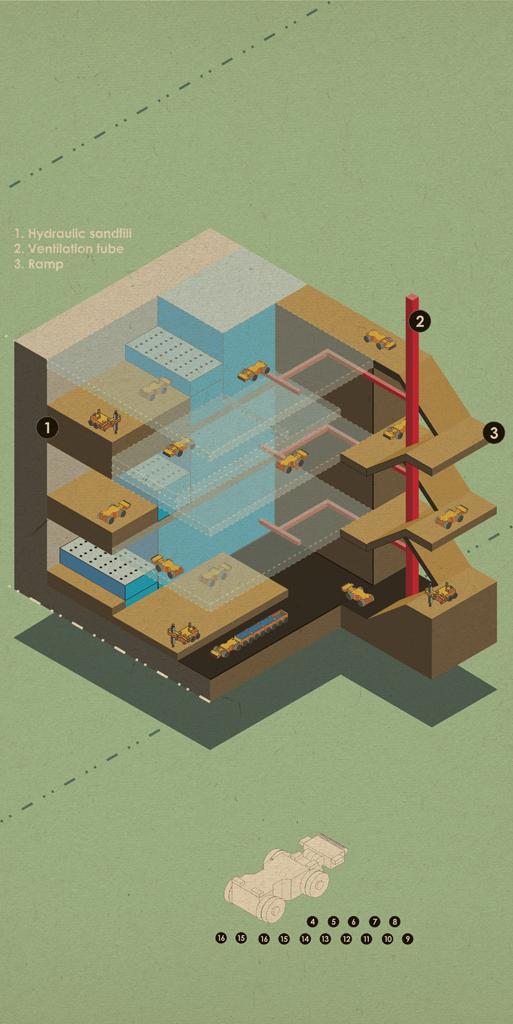 Isometric Illustration for mining for Nosa by Johannesburg graphic designer Matthew Harvey