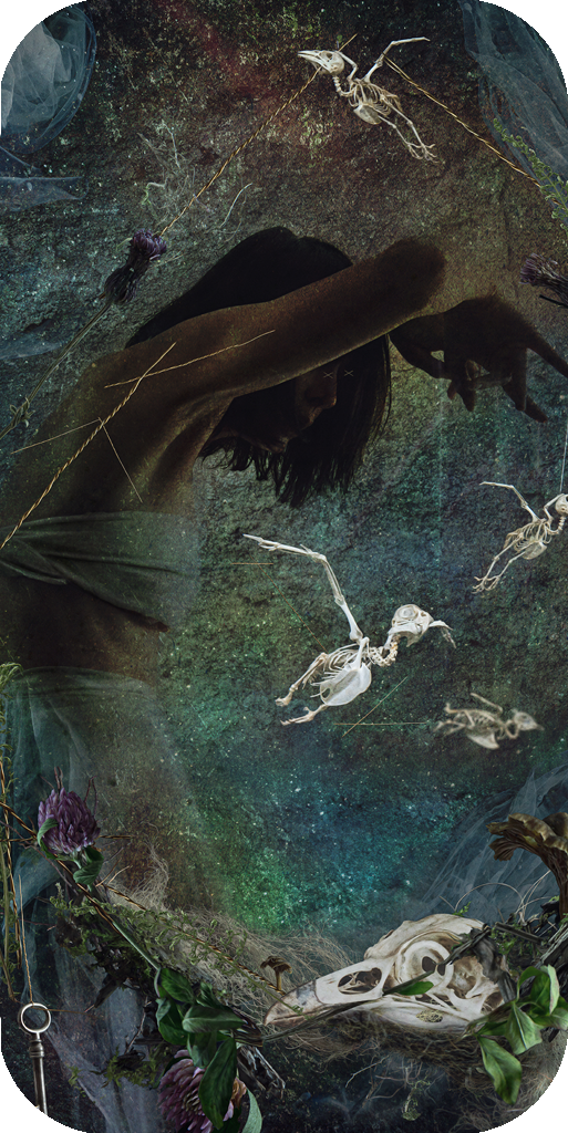 conceptual fine art photography composite with photo-manipulation showing bird skull and skeletan with female figure as puppeteer by contemporary artist Natalie Field