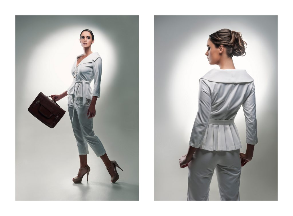 Catalogue photography in studio with hollywood lighting for Clad Chic suit by Johannesburg photographer Natalie Field