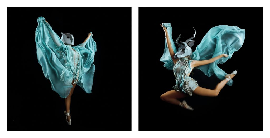 Dance photography frozen mid air of female dancer wearing animal mask by Natalie Field Photography
