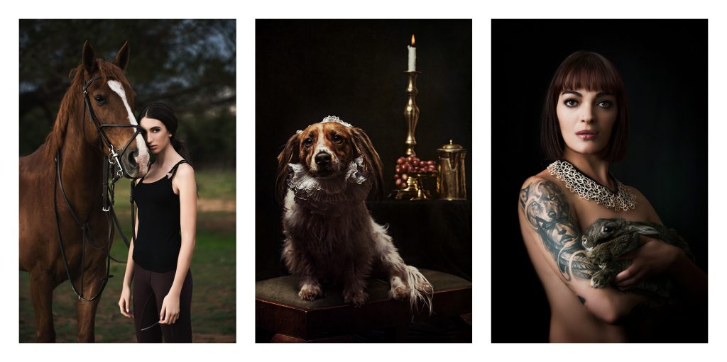 Pet portraiture showing model with horse, dog and rabbit using moody lighting by Natalie Field Photography