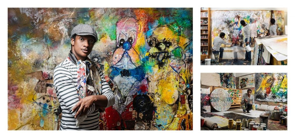 Colourful environmental portraiture of contemporary artist Daniel Stompie Selibe in his studio showing his process by Natalie Field Photography