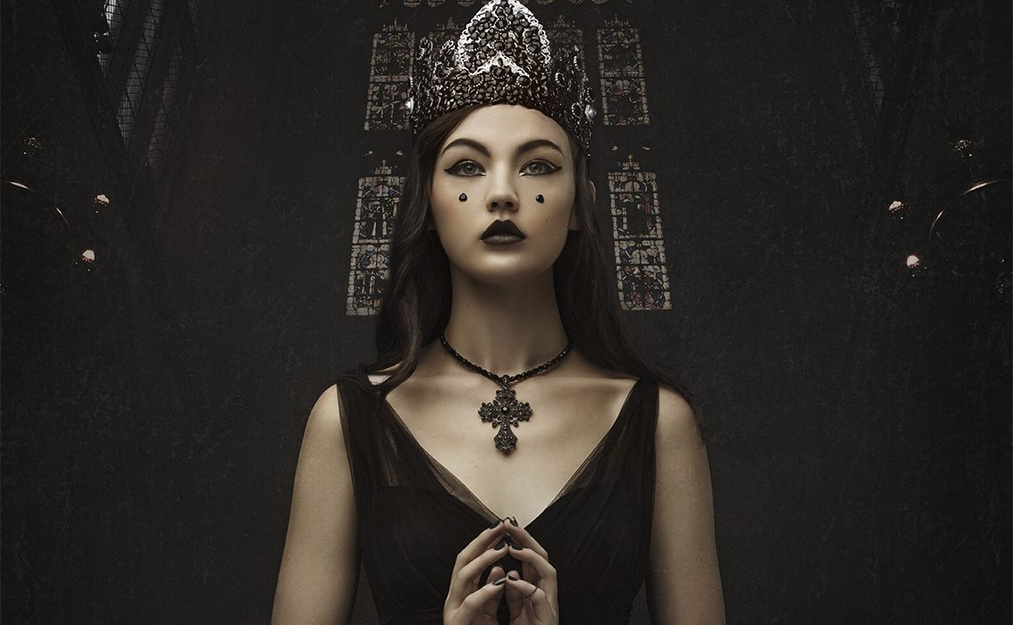 dark beauty inspired fashion collaboration of model wearing high fashion Immagika garment and Image Alchemy hand crafted crown shot by Johannesburg photographer Natalie Field at Sunshine Studios